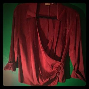 Red satin draped blouse